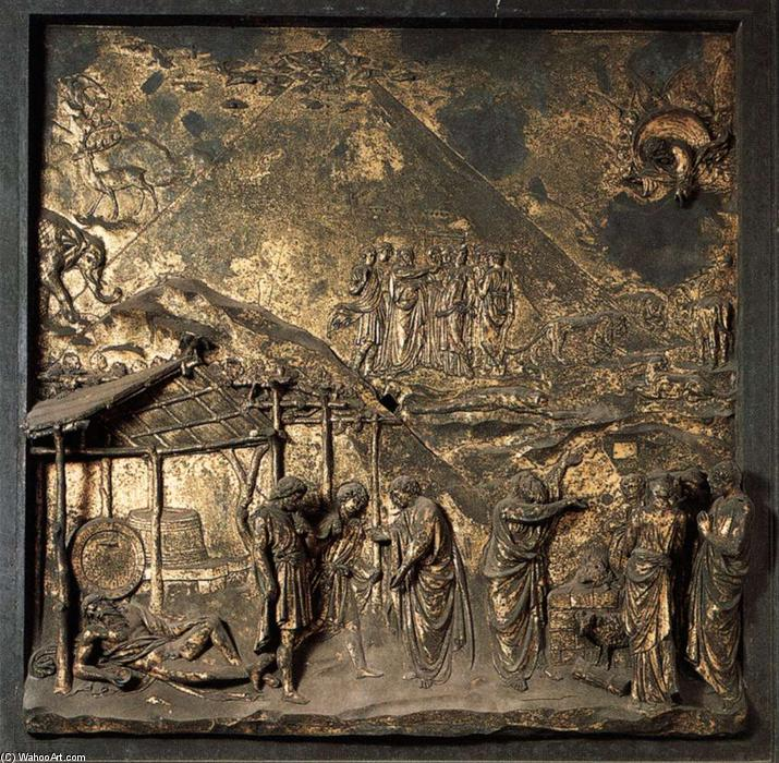 Noah and the Flood, 1425 by Lorenzo Ghiberti (1378-1455, Italy) | Painting Copy | WahooArt.com