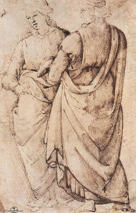 Study of Two Women, Ink by Domenico Ghirlandaio (1449-1494, Italy)