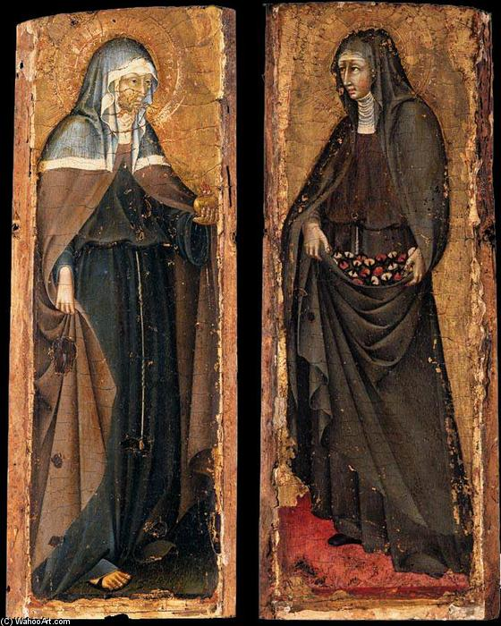 Sts Clare and Elizabeth of Hungary, Oil On Panel by Giovanni Di Paolo (1403-1482, Italy)