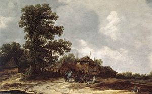 Jan Van Goyen - Farmyard with Haystack