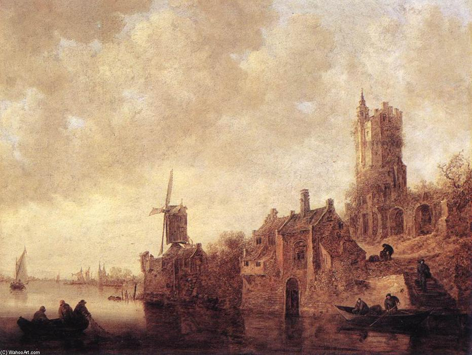 River Landscape with a Windmill and a Ruined Castle, 1644 by Jan Van Goyen (1596-1656, Netherlands) | WahooArt.com