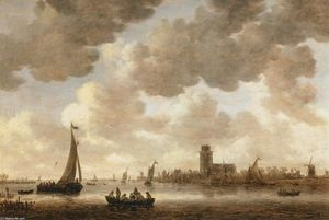 Jan Van Goyen - The Meuse at Dordrecht with the Groote Kerk