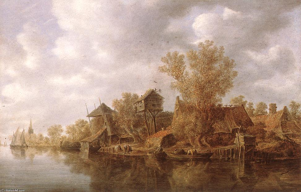 Order Museum Quality Reproductions : Village at the River, 1636 by Jan Van Goyen (1596-1656, Netherlands) | WahooArt.com