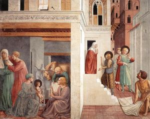Benozzo Gozzoli - Scenes from the Life of St Francis (Scene 1, north wall)