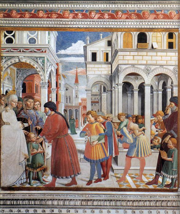 The School of Tagaste (scene 1, north wall), 1464 by Benozzo Gozzoli (1420-1497, Italy) | Painting Copy | WahooArt.com