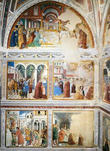 Benozzo Gozzoli - View of the left-hand wall of the chapel
