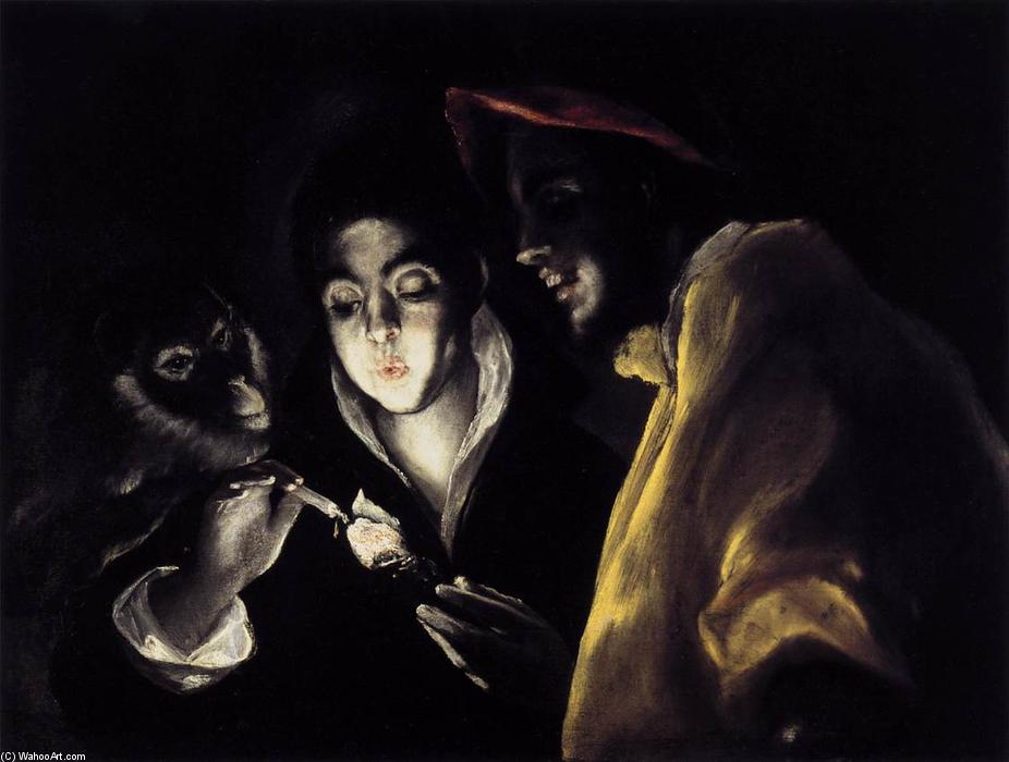 An Allegory with a Boy Lighting a Candle in the Company of an Ape and a Fool (Fábula), Oil On Canvas by El Greco (Doménikos Theotokopoulos) (1541-1614, Greece)