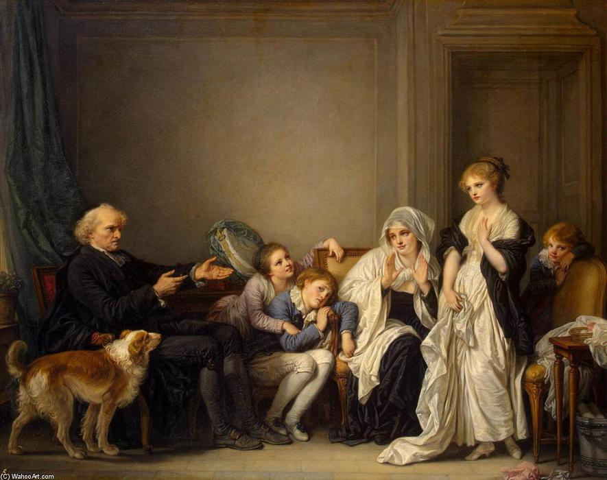 The Widow and Her Priest, 1784 by Jean-Baptiste Greuze (1725-1805, France) | Painting Copy | WahooArt.com