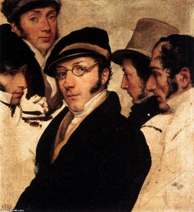 Self-Portrait in a Group of Friends, 1824 by Francesco Hayez (1791-1882, Italy) | Art Reproduction | WahooArt.com