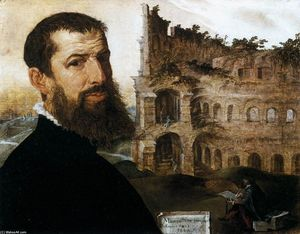 Maarten Van Heemskerck - Self-Portrait in Rome with the Colosseum