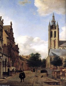 Jan Van Der Heyden - The Oude Kerk on the Oude Delft in Delft (detail)