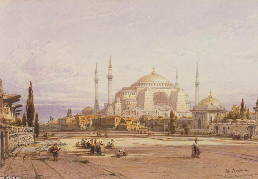 View of the Hagia Sophia in Constantinople, 1852 by Eduard Hildebrandt (1818-1868, Poland) | Painting Copy | WahooArt.com
