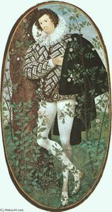 Nicholas Hilliard - A Youth Leaning Against a Tree Among Roses