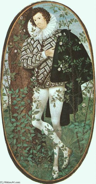 A Youth Leaning Against a Tree Among Roses, Vellum by Nicholas Hilliard  (order Fine Art painting copy Nicholas Hilliard)
