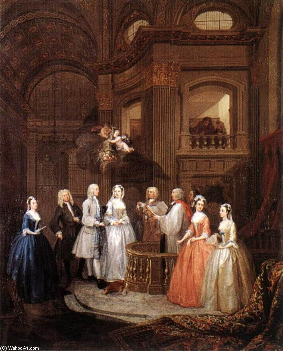 The Marriage of Stephen Beckingham and Mary Cox, 1729 by William Hogarth (1697-1764, United Kingdom) | Museum Quality Reproductions | WahooArt.com