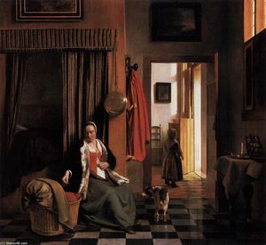 Pieter De Hooch - Mother Lacing Her Bodice beside a Cradle