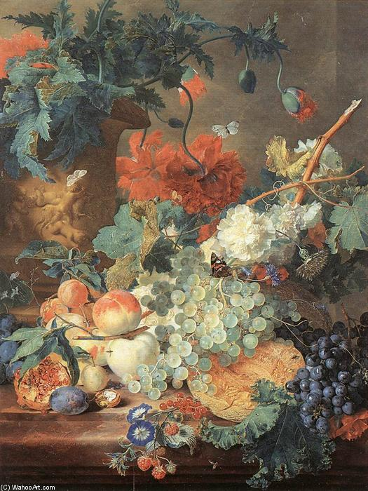 Fruit and Flowers, Oil On Panel by Jan Van Huysum (1682-1749, Netherlands)