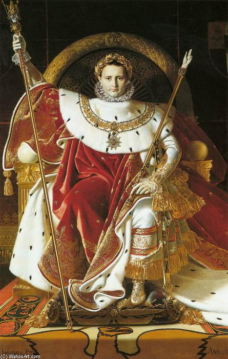 Napoleon I on the Imperial Throne, Oil On Canvas by Jean Auguste Dominique Ingres (1780-1867, France)