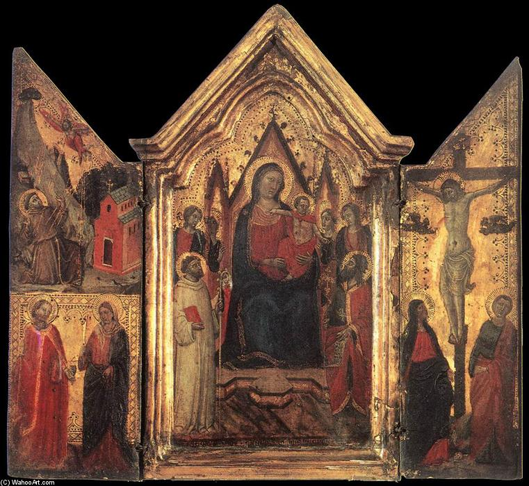 Madonna Enthroned with Angels and Saints, Tempera by Jacopo Del Casentino (Jacopo Landino) (1330-1380, Italy)
