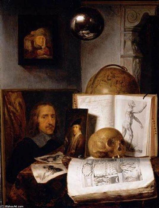 Still Life with a Skull, 1635 by Simon Luttichuijs (1610-1661, United Kingdom) | Famous Paintings Reproductions | WahooArt.com