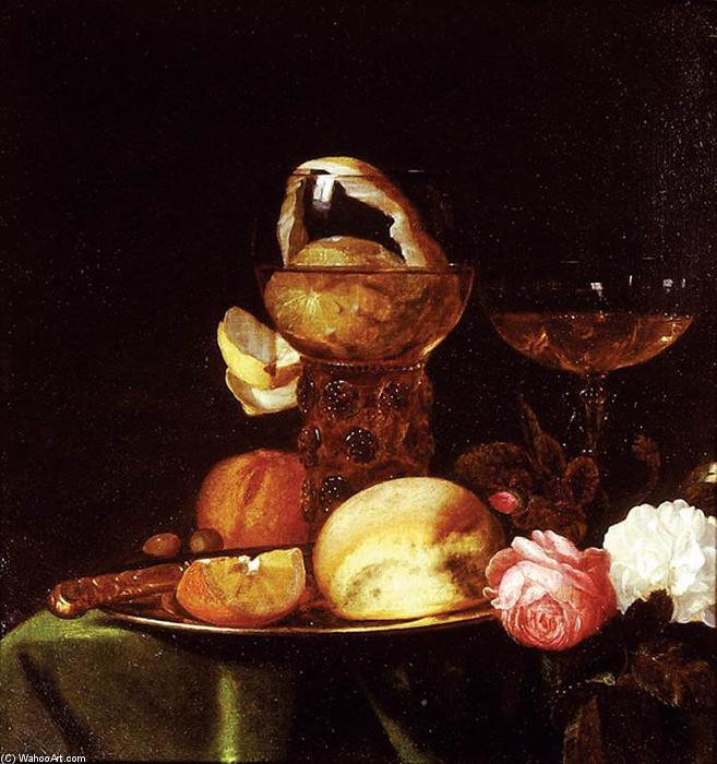 Order Art Reproduction : Still-Life with Fruit and Roses, 1647 by Simon Luttichuijs (1610-1661, United Kingdom) | WahooArt.com