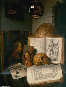 Order Reproductions | Vanitas Still-Life with a Skull, 1635 by Simon Luttichuijs (1610-1661, United Kingdom) | WahooArt.com