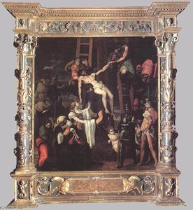 Pedro Machuca - Descent from the Cross (with original frame)