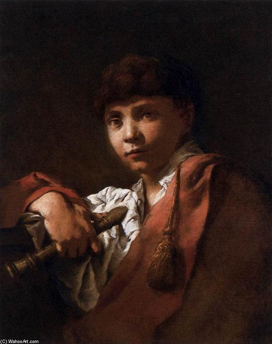 Boy with Flute, 1740 by Domenico Maggiotto (1713-1794, Italy) | Oil Painting | WahooArt.com