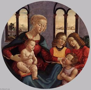 Bastiano Mainardi - Madonna with Child, the Young St John and Two Angels