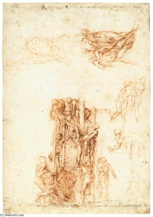 Studies for the Descent from the Cross (recto), 1522 by Michelangelo Buonarroti (1475-1564, Italy) | Museum Art Reproductions Michelangelo Buonarroti | WahooArt.com