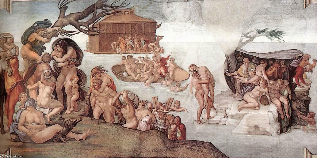 The Deluge, Frescoes by Michelangelo Buonarroti (1475-1564, Italy)