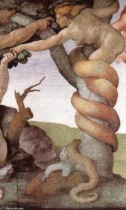 The Fall and Expulsion from Garden of Eden  (order Fine Art Print on canvas Michelangelo Buonarroti)