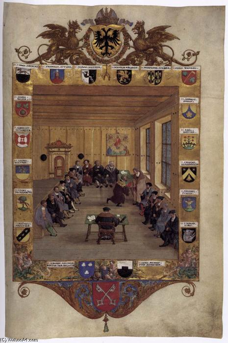 Meeting of the Regensburg Council, 1536 by Hans Mielich (1516-1573, Germany)