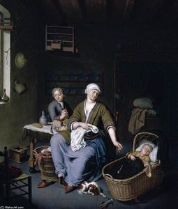 Willem Van Mieris - Interior with a Mother Attending her Children