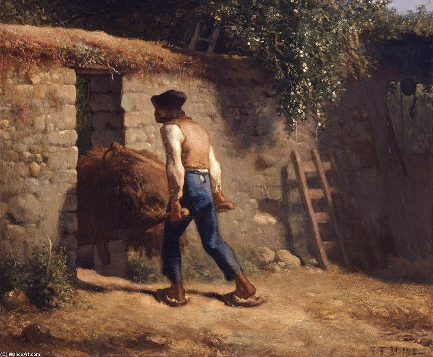 Peasant with a Wheelbarrow, 1848 by Jean-François Millet (1814-1875, France) | Museum Art Reproductions Jean-François Millet | WahooArt.com