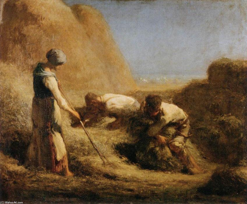 Trussing Hay, 1850 by Jean-François Millet (1814-1875, France) | Oil Painting | WahooArt.com