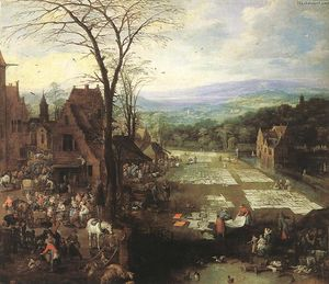 Joos De Momper - Flemish Market and Washing Place