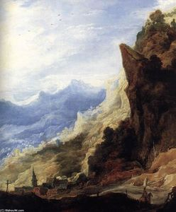 Joos De Momper - Large Mountain Landscape (detail)