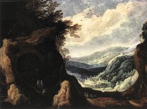 Joos De Momper - Rocky Landscape with Monks