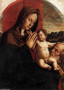 Bartolomeo Montagna - Madonna and Child with St Joseph