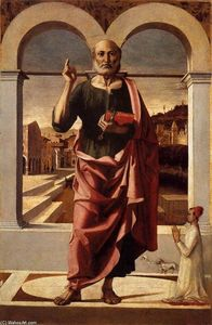 Bartolomeo Montagna - St Peter Blessing and Donor