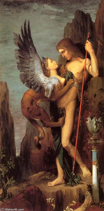 Oedipus and the Sphinx, Oil On Canvas by Gustave Moreau (1826-1898, France)