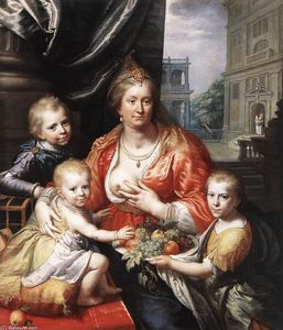Paulus Moreelse - Sophia Hedwig, Countess of Nassau Dietz, with her Three Sons