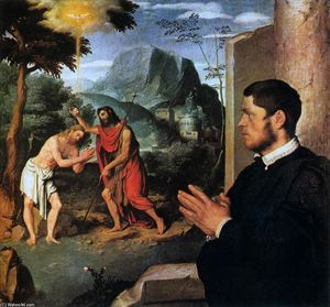 Giovanni Battista Moroni - The Baptism of Christ with a Donor