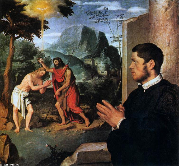 Order Art Reproductions | The Baptism of Christ with a Donor, 1550 by Giovanni Battista Moroni (1525-1578, Italy) | WahooArt.com