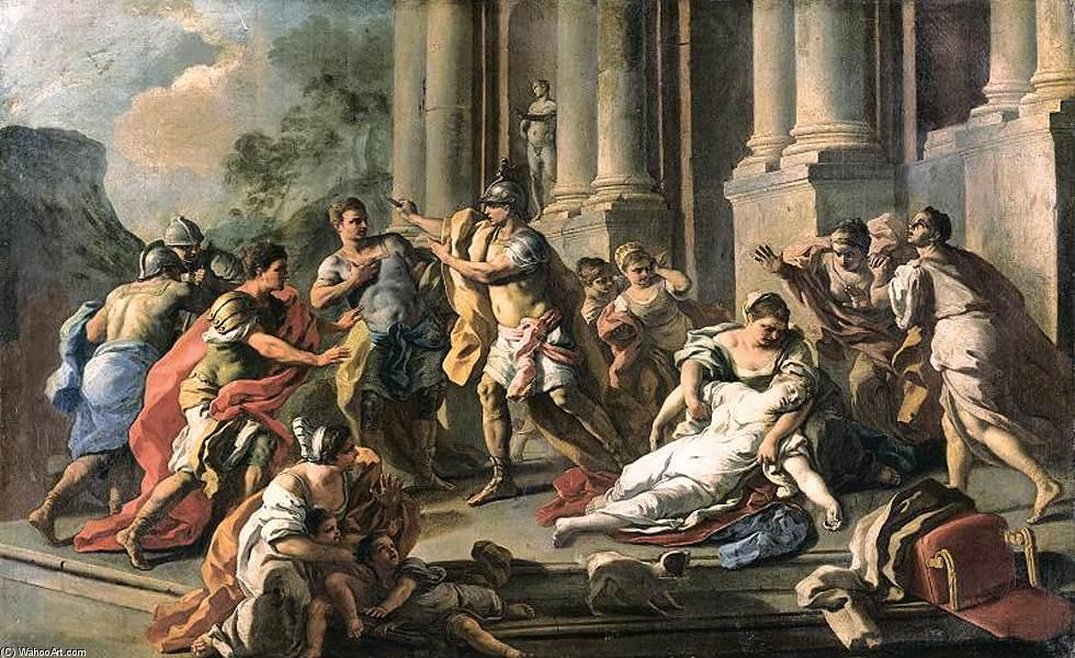 Horatius Slaying His Sister after the Defeat of the Curiatii, Oil On Canvas by Francesco De Mura (1696-1782, Italy)