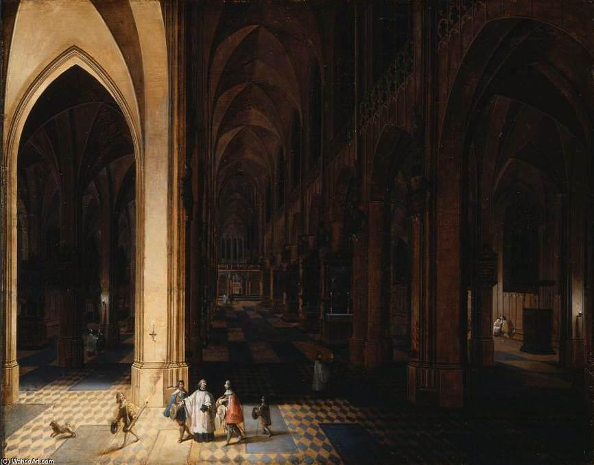 Interior of Antwerp Cathedral at Night, Oil On Panel by Peeter Neeffs The Elder (1614-1652, Belgium)