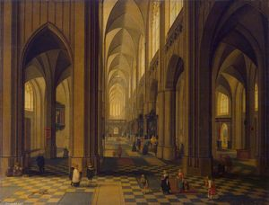 Peeter Neeffs The Younger - Interior of the Antwerp Cathedral