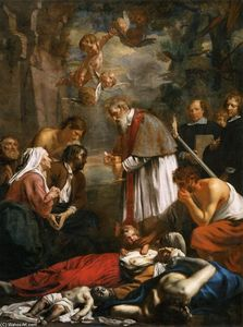 Jacob Van Oost - St Macarius of Ghent Giving Aid to the Plague Victims