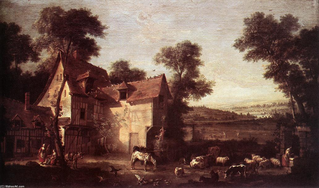 Order Museum Quality Reproductions : Farmhouse, 1750 by Jean-Baptiste Oudry (1686-1755, France) | WahooArt.com